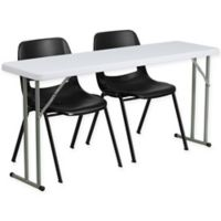 Flash Furniture 3-Piece Folding Table and Chairs Set in Black/White