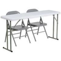 Flash Furniture 3-Piece Folding Table and Chairs Set in Grey/White