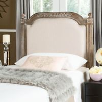 Safavieh Rustic Wood Upholstered Twin Headboard in Beige