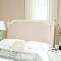 Safavieh Rustic Wood Upholstered Full Headboard in Antique Beige