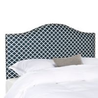 Safavieh Connie Queen Headboard in Navy/White Lattice
