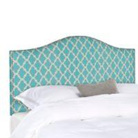 Safavieh Connie Queen Headboard in Blue/White Diagonal Plaid