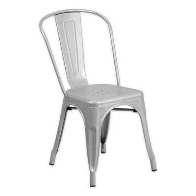 Flash Furniture Indoor/Outdoor Stackable Metal Chair In Silver