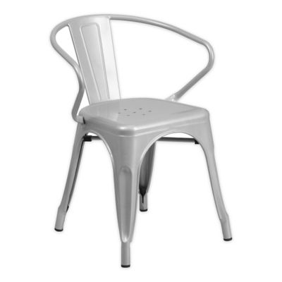 Flash Furniture Metal Chair With Arms In Silver