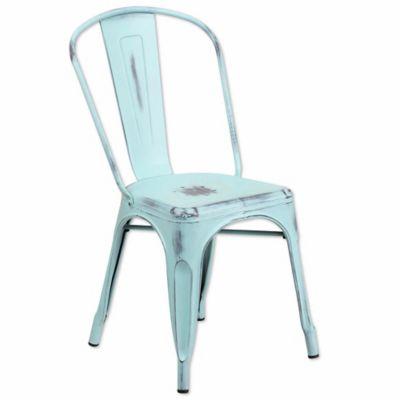Flash Furniture Distressed Metal Indoor/Outdoor Stackable Chair In Blue