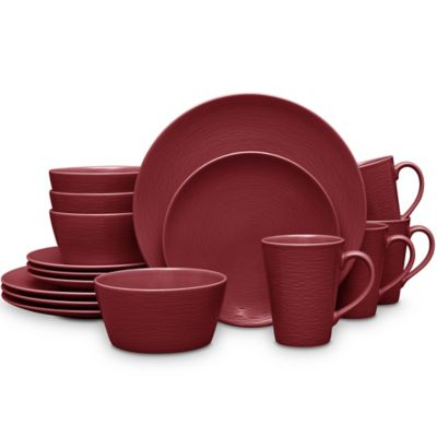 noritake red on red swirl coupe 16piece dinnerware set