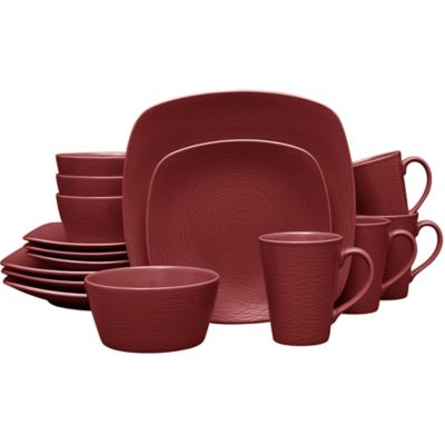 Noritake® Red On Red Swirl Square 16 Piece Dinnerware Set