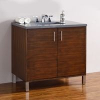 James Martin Furniture Metropolitan 36-Inch Vanity in American Walnut with 3 cm Quartz Top in Grey