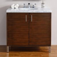 James Martin Furniture Metropolitan 36-Inch Vanity in American Walnut w/ 4 cm Marble Top in Carrara