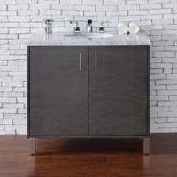 James Martin Furniture Metropolitan 36-Inch Vanity in Silver Oak with 4 cm Marble Top in Carrara