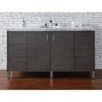 James Martin Furniture Metropolitan 60-Inch Vanity in Silver Oak with 4 cm Marble Top in Carrara