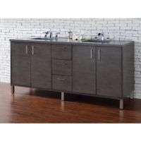 James Martin Furniture Metropolitan 72-Inch Double Vanity in Silver Oak w/ 3 cm Quartz Top in Grey