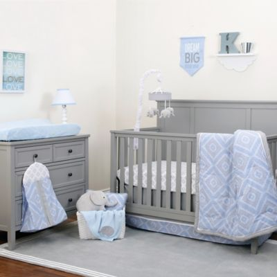 nojo dreamer diamond 8piece crib bedding set in bluegrey