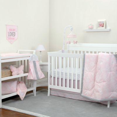 NoJo® Dreamer Floral 8 Piece Crib Bedding Set In Pink/Grey
