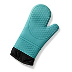 Popular Bath Products Silicone Quilted Caribbean Blue Silicone Oven Mitt