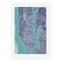 New York City Map Watercolor Wall Art in Blue