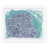 San Francisco Map Watercolor Wall Art in Blue