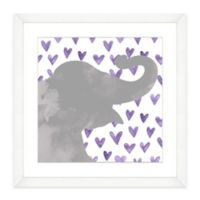 Elephant With Purple Hearts Framed Watercolor Print Wall Art