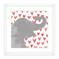 Elephant With Red Hearts Framed Watercolor Print Wall Art
