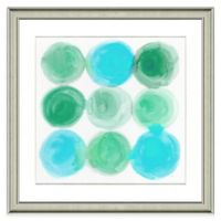 Teal Circles Framed Watercolor Print Wall Art