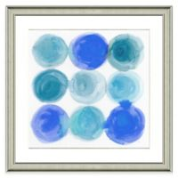 Blue Circles Framed Watercolor Print Wall Art