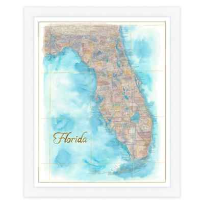 Florida Map Watercolor Wall Art