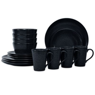 Noritake® Black on Black Snow Coupe16-Piece Dinnerware Set  sc 1 st  Bed Bath \u0026 Beyond & Buy Patterned Dinnerware from Bed Bath \u0026 Beyond