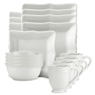 Lenox® French Perle Bead Square 16-Piece Dinnerware Set in White  sc 1 st  Bed Bath \u0026 Beyond & Buy Lenox Everyday Dinnerware from Bed Bath \u0026 Beyond
