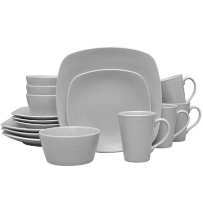 Noritake® Grey on Grey Swirl 16-Piece Square Dinnerware Set  sc 1 st  Bed Bath u0026 Beyond & Buy Grey Dinnerware Sets from Bed Bath u0026 Beyond