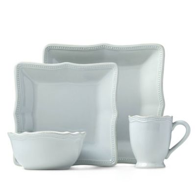 Lenox® French Perle Bead 16-Piece Square Dinnerware Set in Ice Blue  sc 1 st  Bed Bath u0026 Beyond & Buy Blue Square Dinnerware Sets from Bed Bath u0026 Beyond