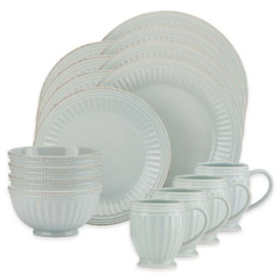Lenox® French Perle Groove 16-Piece Dinnerware Set in Ice Blue  sc 1 st  Bed Bath u0026 Beyond : lennox dinnerware - pezcame.com
