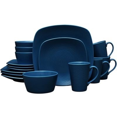 Noritake® Navy on Navy Swirl 16-Piece Square Dinnerware Set  sc 1 st  Bed Bath u0026 Beyond & Buy Blue Square Dinnerware Sets from Bed Bath u0026 Beyond