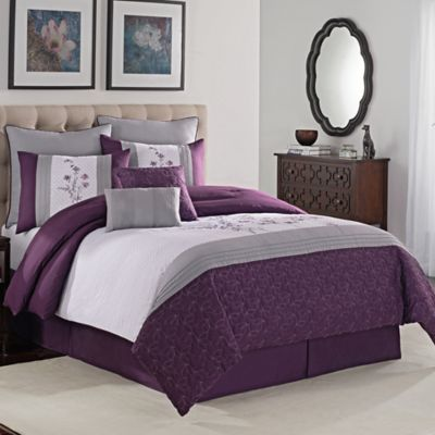 Avalon 8-Piece King Comforter Set in Purple