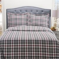 Winter Nights Prospect Heights King Flannel Duvet Cover Set in Red/Black