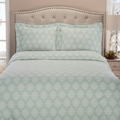 Winter Nights Rosemont Medallion King Flannel Duvet Cover Set In Aqua