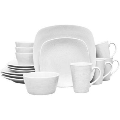 Noritake® White on White Square Swirl 16-Piece Dinnerware Set  sc 1 st  Bed Bath u0026 Beyond & Buy White Square Dinnerware from Bed Bath u0026 Beyond