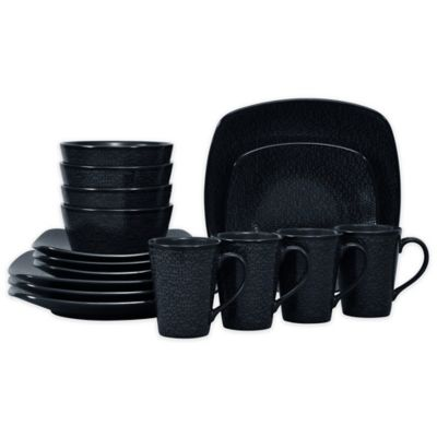 Noritake® Black on Black Snow Square 16-Piece Dinnerware Set  sc 1 st  Bed Bath u0026 Beyond & Buy Black Dinnerware Sets from Bed Bath u0026 Beyond