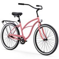 "sixthreezero Women's Around the Block 26"" Single Speed Beach Cruiser Bicycle in Coral"