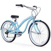 "Firmstrong Bella Classic 26"" Seven Speed Beach Cruiser Bicycle in Baby Blue"