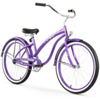 "Firmstrong Bella Classic 26"" Single Speed Beach Cruiser Bicycle in Purple"