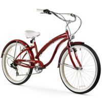 "Firmstrong Bella Fashionista 26"" Seven Speed Beach Cruiser Bicycle in Burgundy"