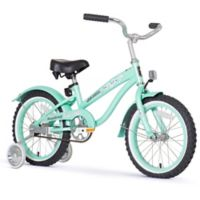 "Firmstrong Girl's Bella 16"" Single Speed Bicycle w/Training Wheels in Mint Green"