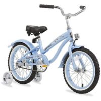 "Firmstrong Girl's Bella 16"" Single Speed Bicycle w/Training Wheels in Baby Blue"