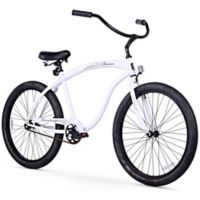 "Firmstrong Men's Bruiser 26"" Single Speed Beach Cruiser Bicycle in White"