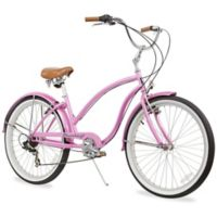 "Firmstrong Chief Lady 26"" Seven Speed Beach Cruiser Bicycle in Pink"