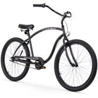 "Firmstrong Chief Man 26"" Three Speed Beach Cruiser Bicycle in Matte Black"