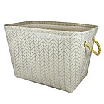 Canvas Storage Bin with Rope Handles in Gold Chevron
