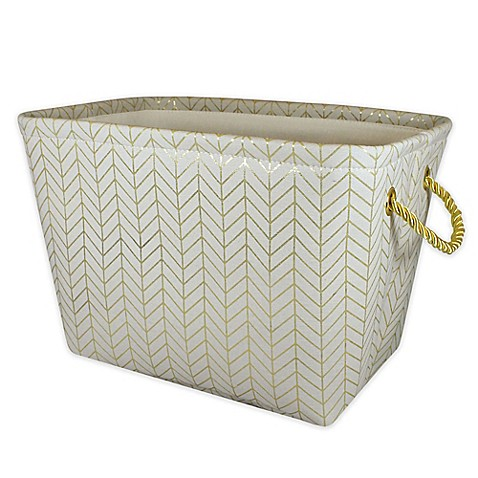 Canvas storage bin with rope handles in gold chevron bed for Gold bathroom bin