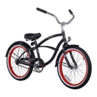 "Firmstrong Urban Boy 20"" Single Speed Beach Cruiser Bicycle in Black w/Red Rims"