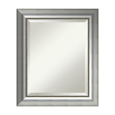 21inch x 25inch vegas rectangular bathroom mirror in burnished silver